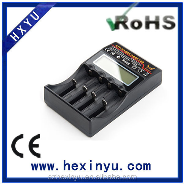 Each battery slot is charged and monitored independently HXY-18650-C4 univeral battery charger