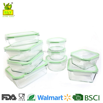 18pcs Oven Safe Glass Lock Food Storage Container, Cheap Pyrex Glass  Container Manufacturer