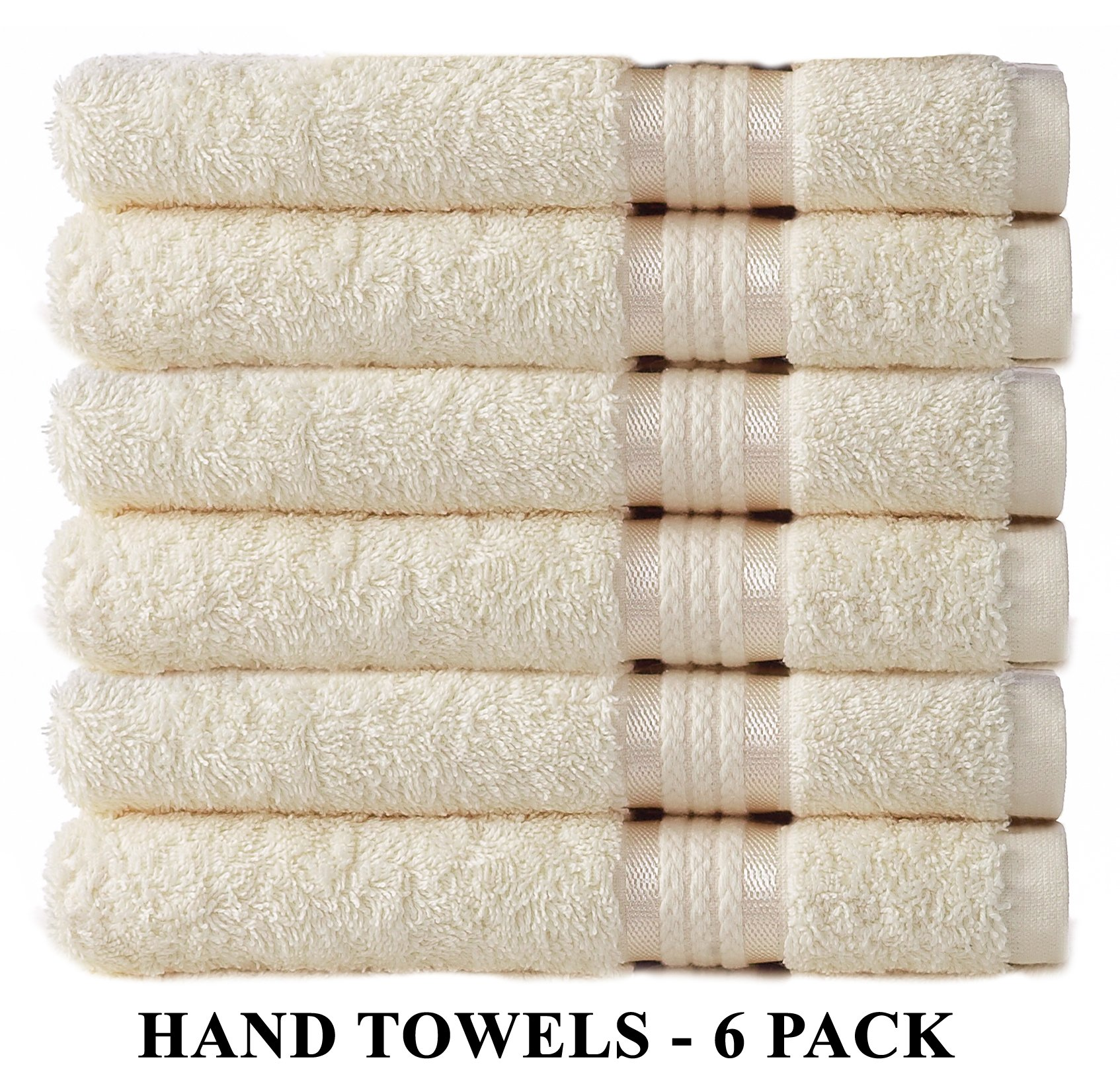 Cotton Craft Ultra Soft 6 Pack Hand Towels 16x28 Ivory weighs 6 Ounces each - 100% Pure Ringspun Cotton - Luxurious Rayon trim - Ideal for everyday use - Easy care machine wash