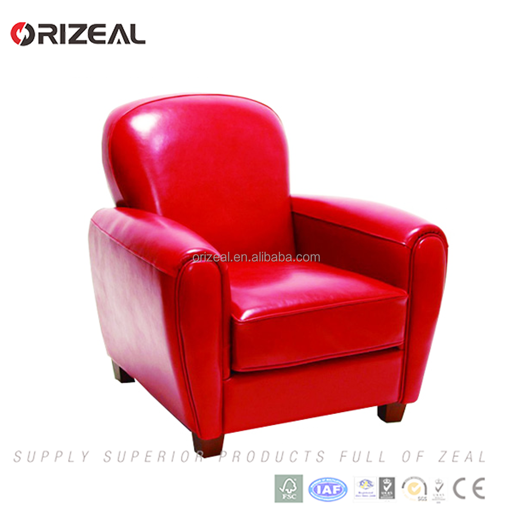 Wooden frame leather leisure sofa chair lounge sofa chair in hotel