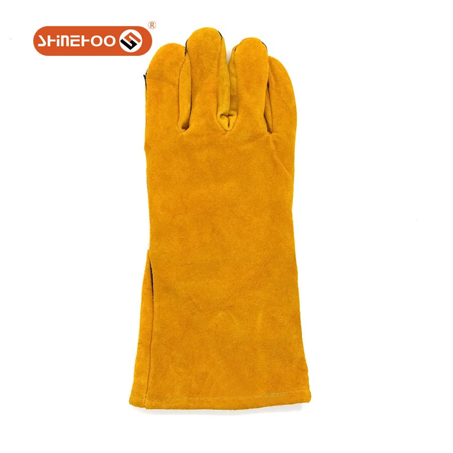 SHINEHOO Natural Cow Split Leather Coated Cotton Lined Gloves