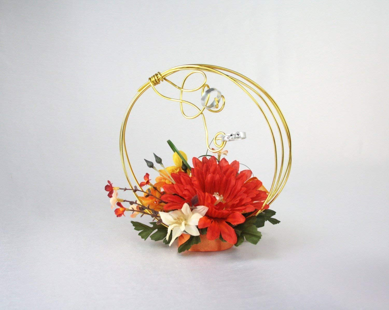 Ring holder alternative, Flower girl accessories, Orange and gold rings holder, Ring bearer pillow alternative, Ring Holder, Alternative flowers girl bouquet