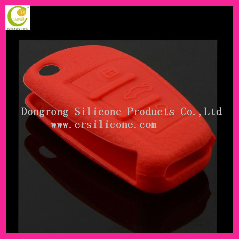 Red color fancy dustproof silicone rubber key cover for car remote