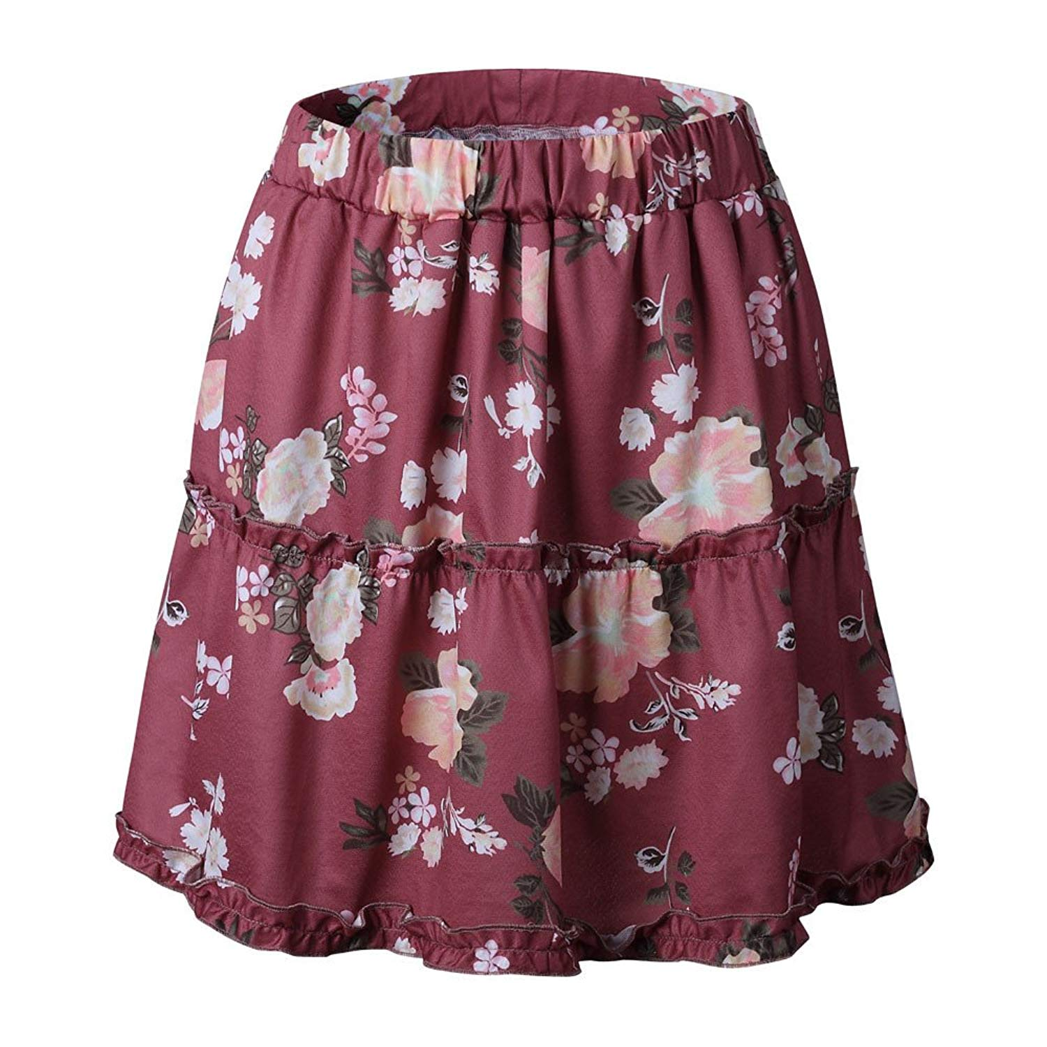 a53c9b36ea Get Quotations · Littleice Women Ladies Floral Printing Skirt Bohemian  Splice Folds Pleated Skirt Above Knee Causal Mini Skirts