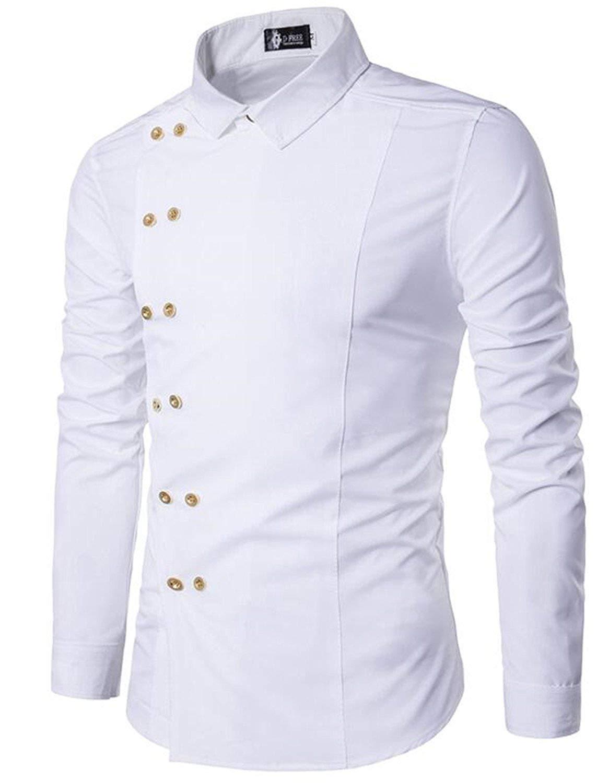 Fensajomon Mens Retro Printed Long Sleeve Casual Slim Fit Button Down Dress Shirt Black M
