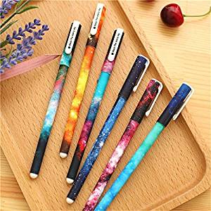 6 Pcs / Set 0.38mm Starry Sky Black Gel Pen Students Office Writting Stationery / . . . Pen Pattern: The Starry Sky . . Ink Color: Black . . Pen Length: 15cm . . Writing Point: 0.38m
