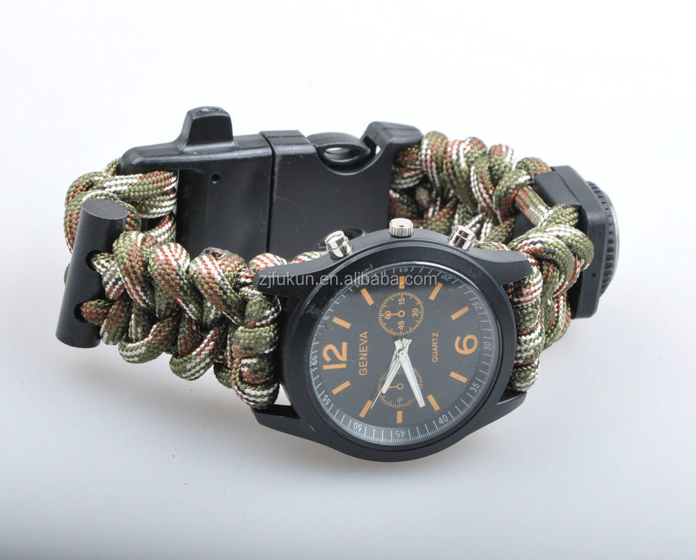 paracord outdoor watch survival compass whistle fire starter aliexpress com buy paracord outdoor watch survival compass