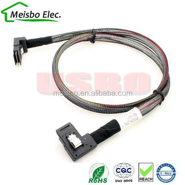 SFF-8087 Mini SAS 4i 36P (Right Angle) to 36 Pin reverse Right Angled 90 degree 70cm data link cable