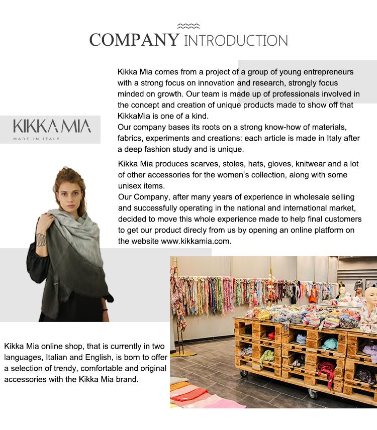 Kikka Mia OEM soft printing cotton scarf silk women with frame pattern