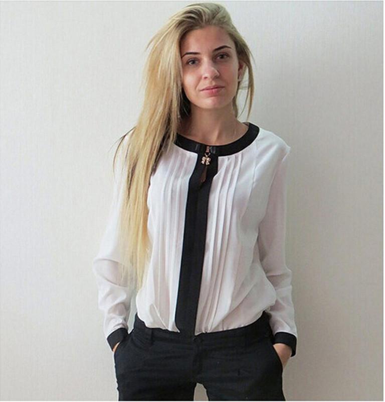 Осень 2016 дешевую одежду китай мода женщины блузка Большой размер полный  рукав свободного покроя шифон blusas femininas сексуальная о-образным шею  рубашка ... 9d9091293a8