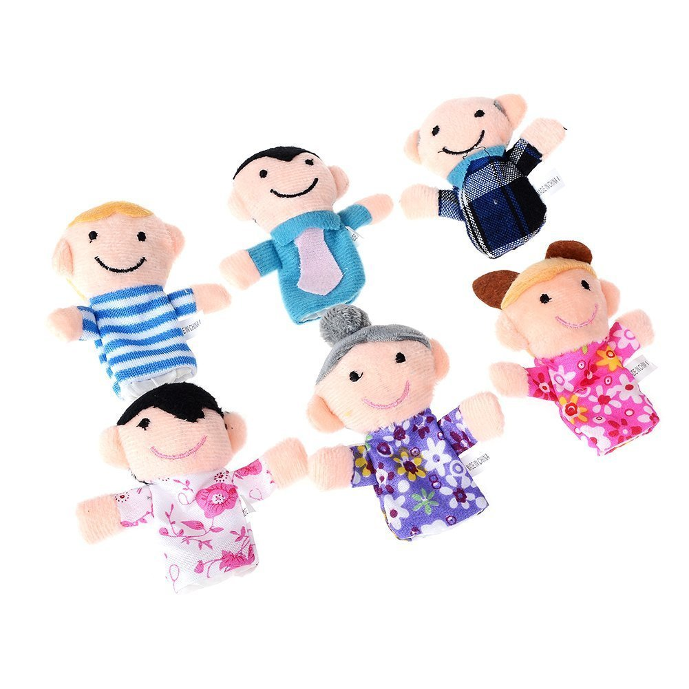 Imixlot Mini Grandparents, Mom & Dad, Brother & Sister Family Finger Puppet Set Funny Learn Play Story