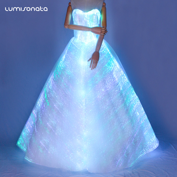 2018 de moda Único diseño elegante de fibra Óptica vestido de boda
