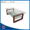 Fancy modern led tempered glass round touch screen side dining coffee table room furniture oval wood tables