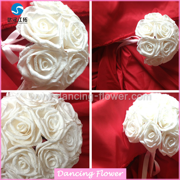 Crepe Paper White Rose Flower Ball Wedding Bouquets (bfch-02 ) - Buy ...
