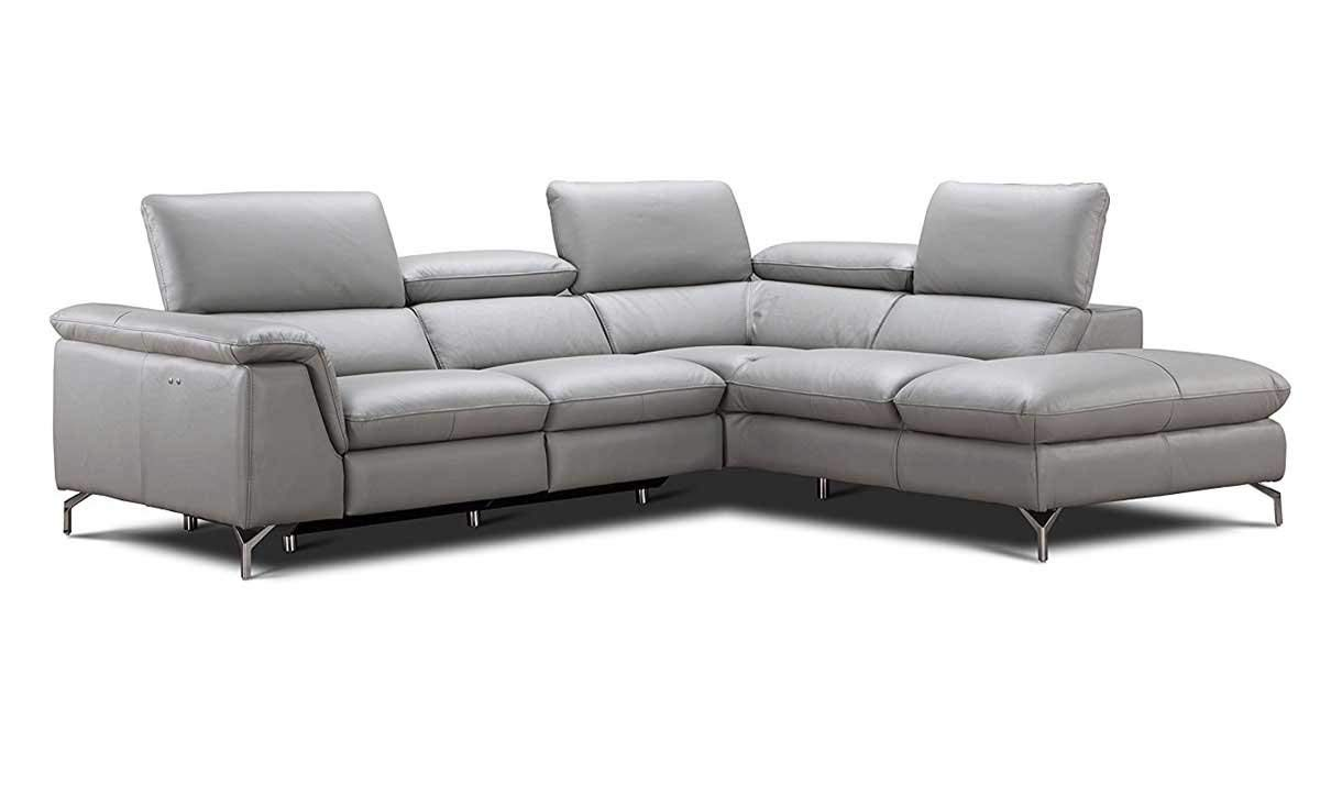 J&M Furniture Viola Leather Right Facing Sectional Sofa in Light Grey
