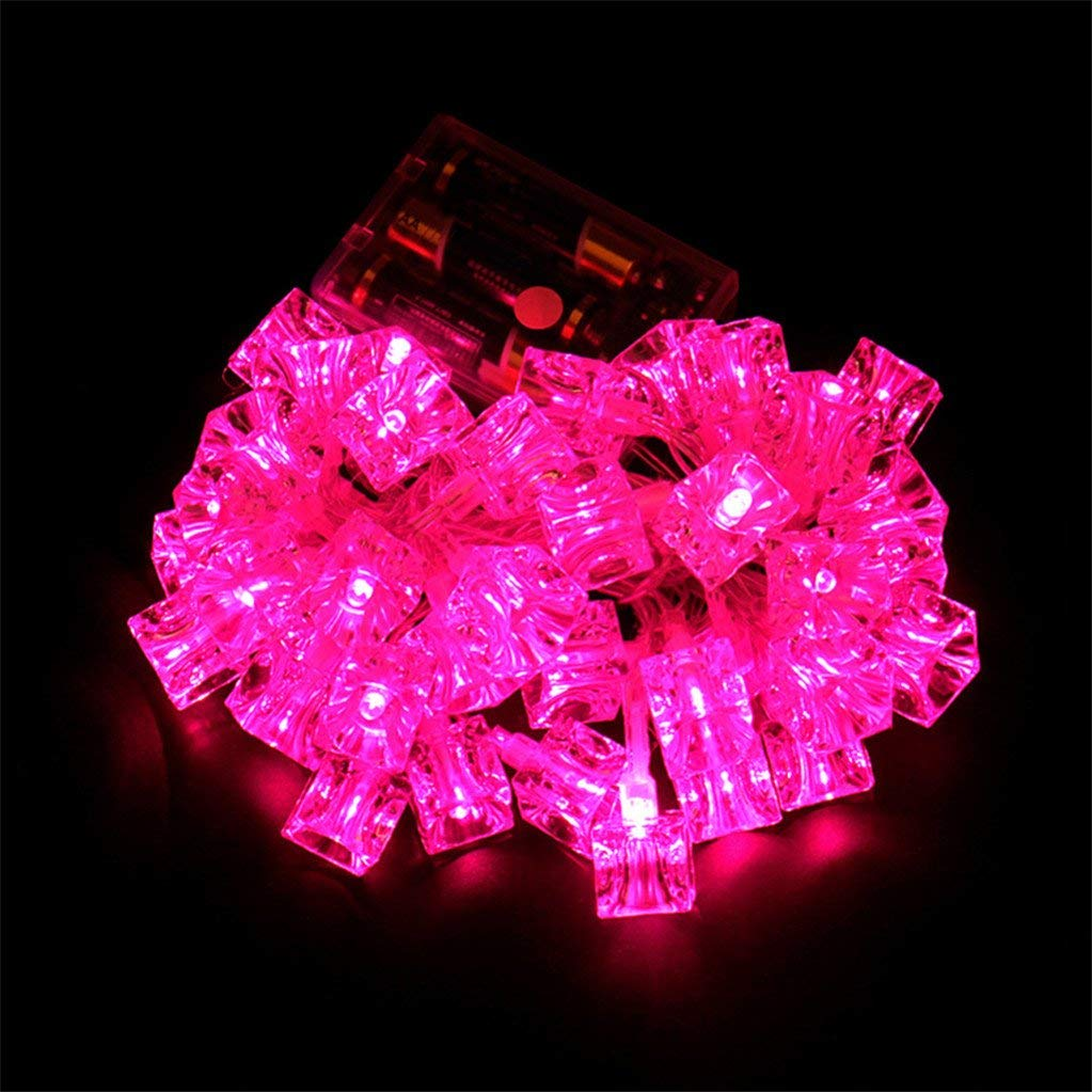 super1798 40 Pcs LED Christmas Garden Party Decoration String Ice Block Lights Lamp - 4.2m Pink