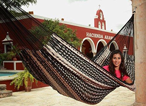 Sunnydaze Mayan Family Hammock Hand-Woven XXL Thick Cord, 880 Pound Capacity, Black/Natural