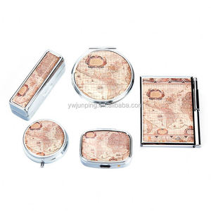 Map Cosmetic Mirror Gift Set Epoxy Notebook Good Quality Pocket Mirror
