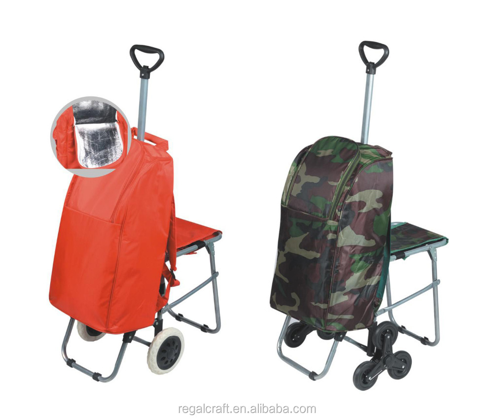 p detail picnic travel trolley bag with seat shopping cart insulated cooler chair