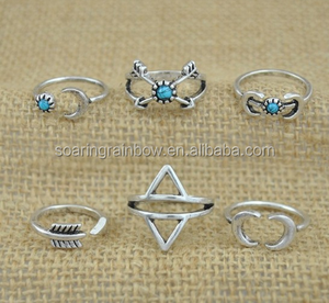 Retro Jewelry Vintage Punk Beach 6PCS Ring Set For Women Antique Boho Alloy Knuckle Rings,ring set