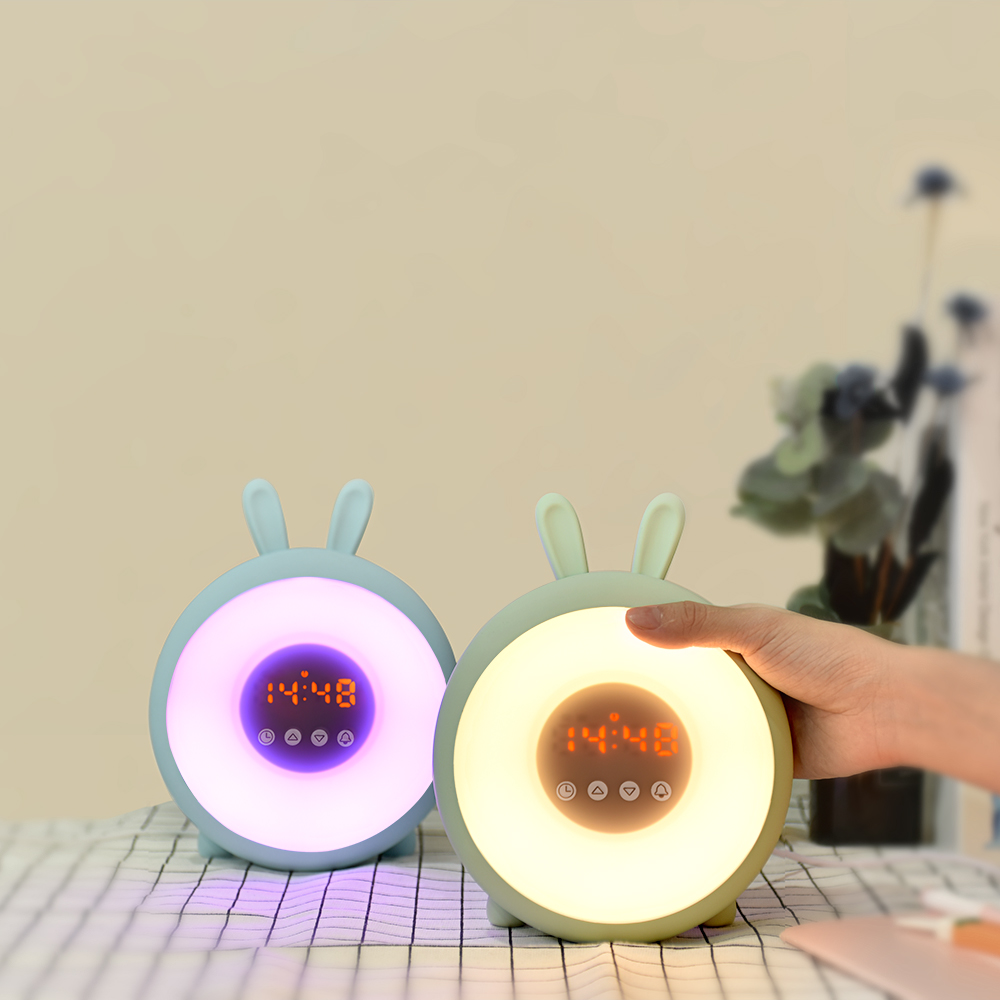 Baby Room Decor 7 Color Changing Kids Nursery Wake Up Lamp Sleep Clock Trainer