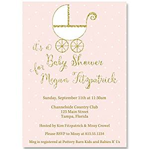Baby Shower Invitations, Carriage, Vintage, Pink, Gold, Girl, 10 Custom Printed Invites with Envelopes, Buggy, Retro, FREE Shipping, Polka Dots, Glitter