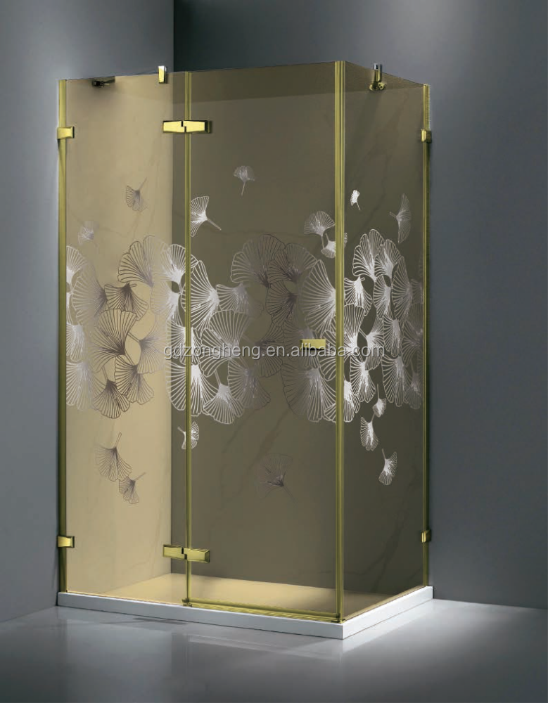 Gold Luxurious Shower Cabins Hinge Tempered Laminated Glass Villa ...