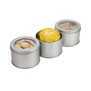 Food Grade Round Tin Can With Clear Window For Cookie Packaging