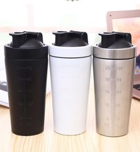 Hot 2018 scale line stainless steel shaker bottle with metal ball,18/08 Double layers SS with available free samples