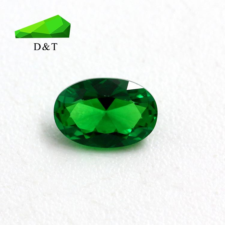 High temperature nano-A-level egg-shaped oval 4x6 MM green synthetic gemstone nano stone super bright inlaid jewelry