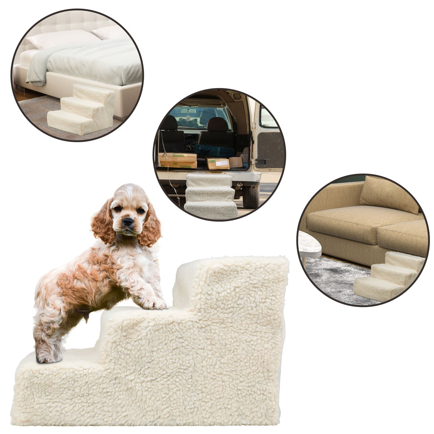 Get Quotations · Ideas In Life Pet Stairs Ramp For High Beds   Doggy Steps  For Small Dogs And