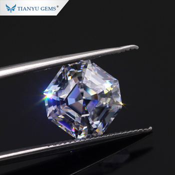 Tianyu Gem Finest Custom Cut New Octavia Asscher Cut D E F Moissanite Loose Stone With Strong Color&Fire