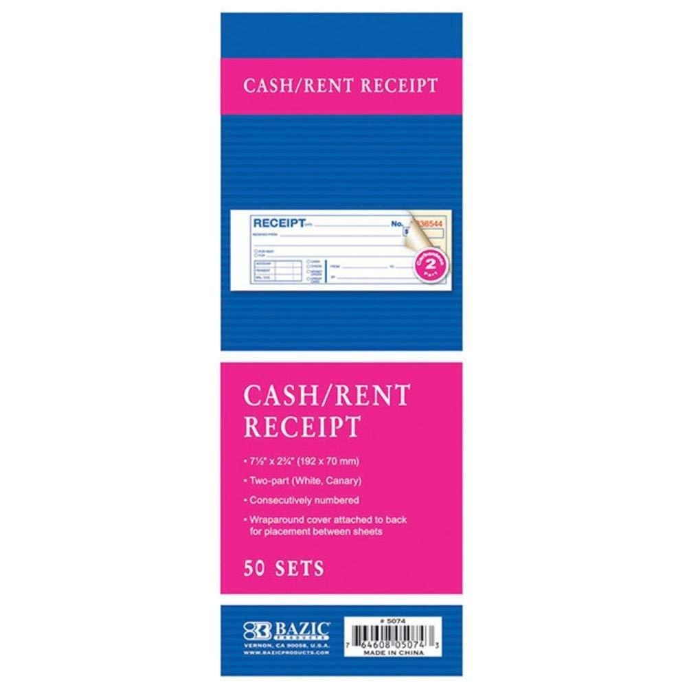 """BAZIC 50 Sets 7 1/2"""" x 2 3/4"""" 2-Part Carbonless Cash or Rent Receipt, Case Pack of 144"""