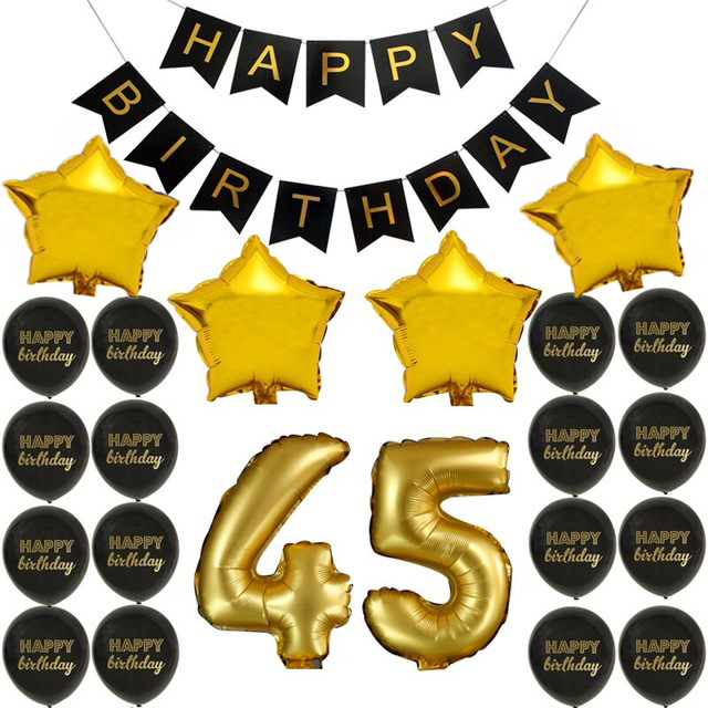 Happy Birthday Banner 45th Balloons Anniversary Decoration