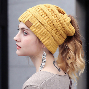 Women style winter design acrylic beanie multifunction messy bun ponytail knitted hat