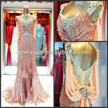 Sexy Cap Sleeve Sparkle Sweetheart Ruched Rhinestone Beaded Satin and Chiffon Trumpet Sweep Train Sequin Evening Prom Dresses