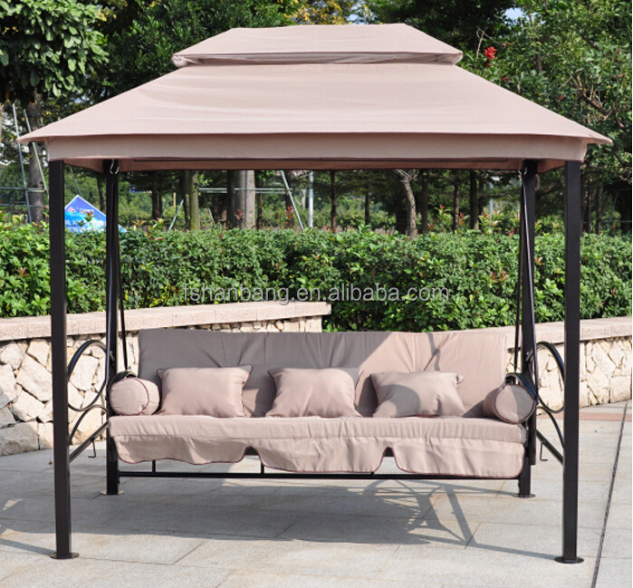 Luxury Two Function Three Seat Outdoor Gazebo Swing Chair Bed With