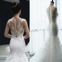 C72037A Special Design Lace Appliqued Mermaid Wedding Dress