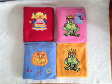 High quality embroidered cute children's micro fleece blanket with backpack 75x100cm