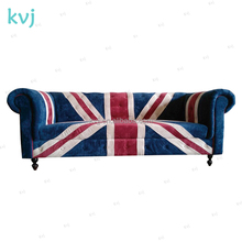 KVJ-7623 Union Jack livingroom furniture wood fabric chestfield sofa
