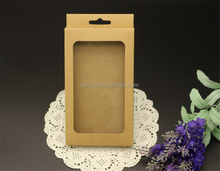 155*90*15mm phone Case Retail Packaging with blister Hang Hole blank Kraft Paper Package with PVC Window Pouch Case Box Package
