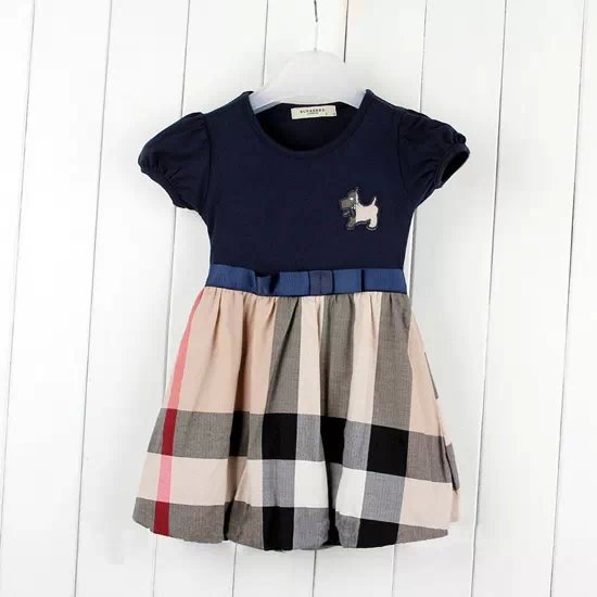 2015 new hot-selling summer baby girl's plaid dresses children bowknot  dresses knee-length dress