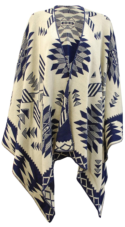 17cbd901a7a60 Crazy Girls Ladies Diamond Print Knitted Cardigan Reversible Poncho Aztec  Womens Cape