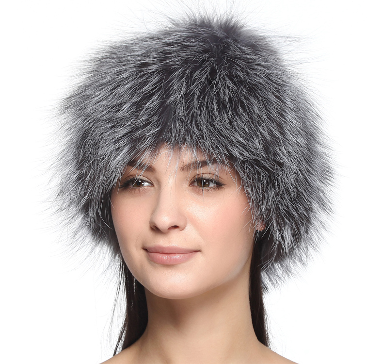 Silver fox fur hats for women winter warm knitted beanies 2015 new style fashion real fur cap elastic good quality female hat