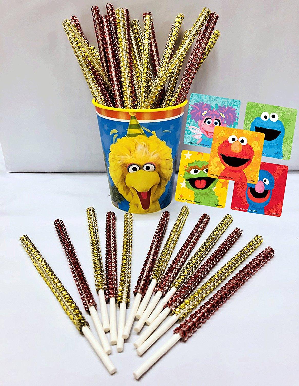 Sesame Street Elmo & Friends Inspired Party Favor Bling Cake Pop Sticks - Red & Gold Glam for Lollipops, Cake Pops & All Things Party! Plus Bonus Birthday Child Keepsake Cup & Sticker Favors!