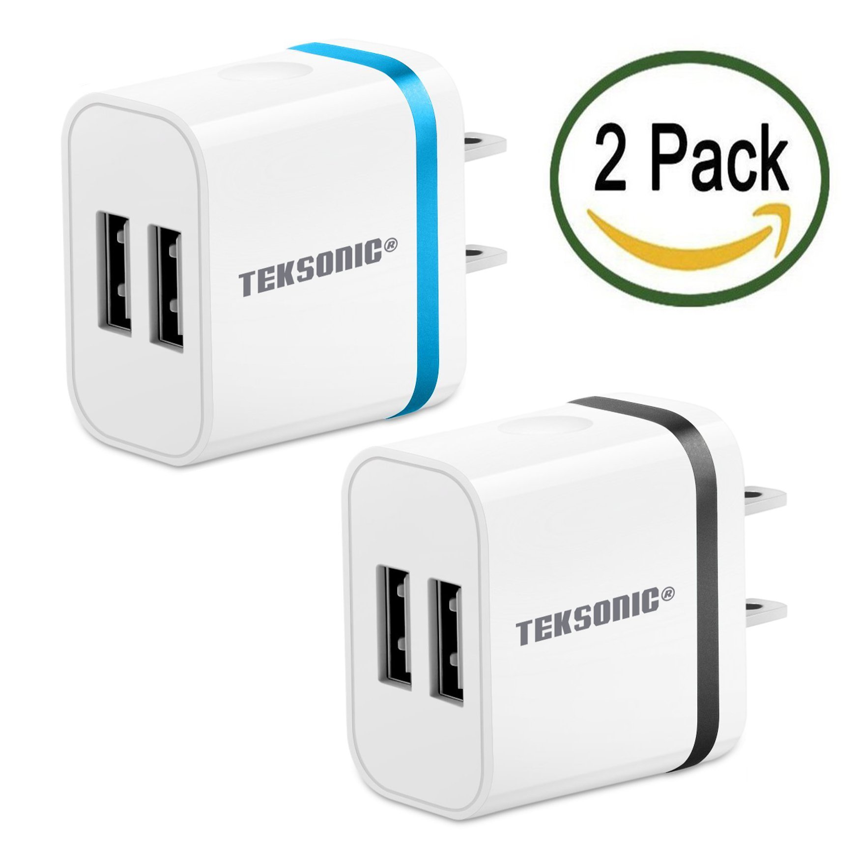 TekSonic 2 Pack 2.1 Amp Dual USB Wall Charger Portable Home Travel USB Adapter Charger Plug for iPhone 7 6 5, iPad, Samsung Galaxy, S7 Edge, Note 5, HTC, LG G5, Nexus, Nokia, Motorola (Silver)