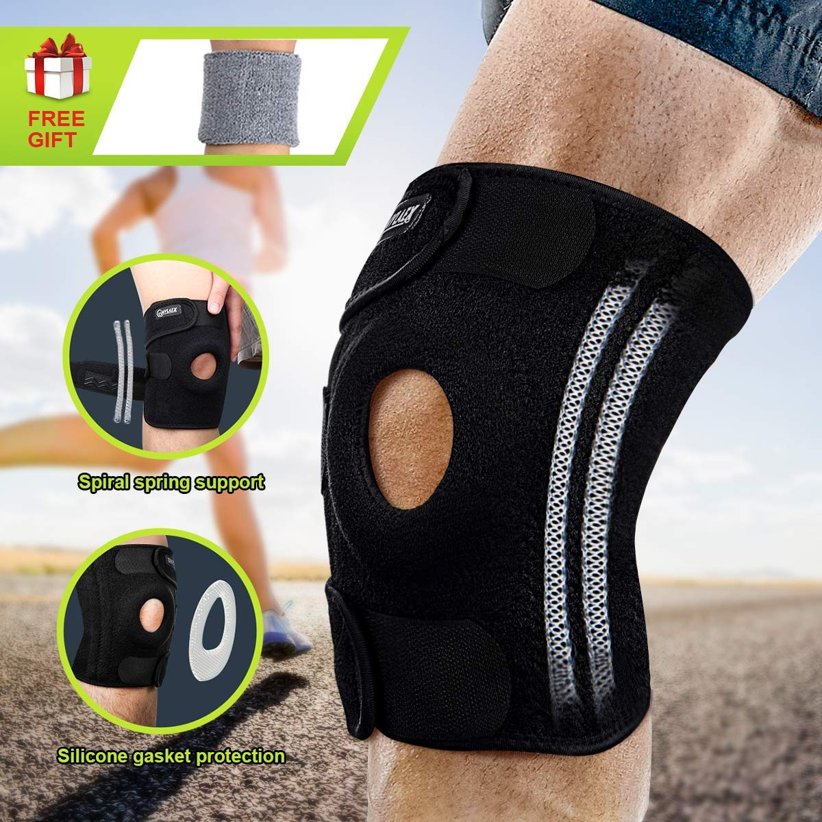 52e49f7afb Get Quotations · Knee Brace, Compression Knee Sleeve with Strap & 4  Flexible Spring Stabilizers for Best Support