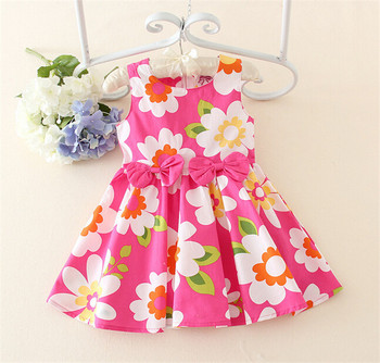 a490336710ad Summer Cool Flower Printed Baby Dress Designs Cute Baby Girls ...