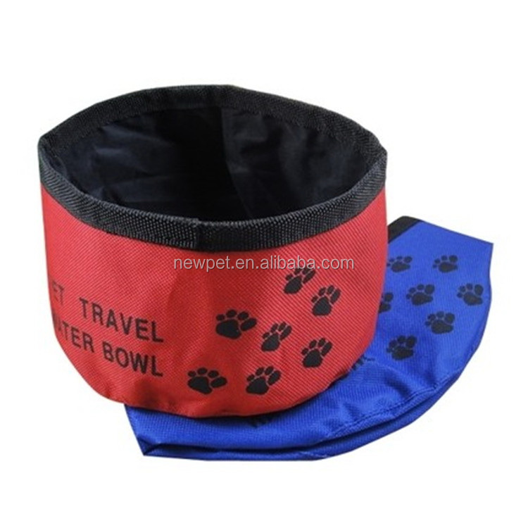Factory direct reasonable price oxford cloth waterproof travel bowl double side dog bowl