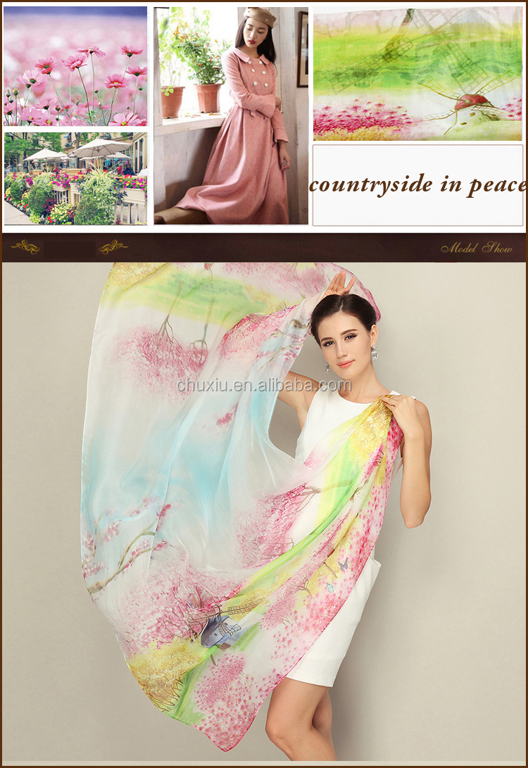 No MOQ Custom Digital Printed Silk Long Fashion Scarves for Women